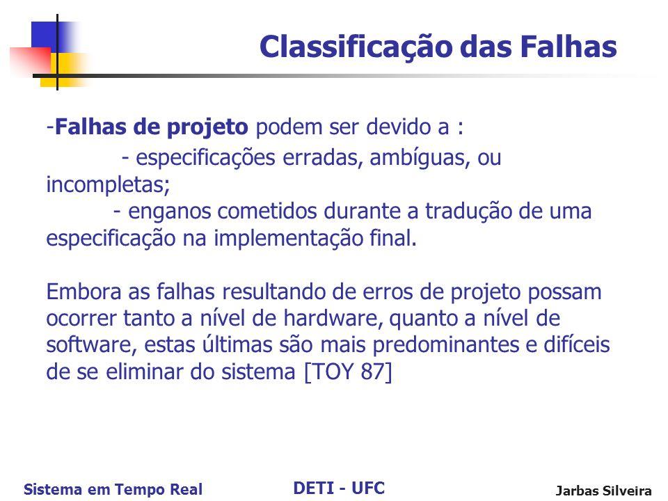 DETI - UFC Sistema em Tempo Real Jarbas Silveira -Falhas de projeto podem ser devido a : - especificações erradas, ambíguas, ou incompletas; - enganos cometidos durante a tradução de uma especificação na implementação final.