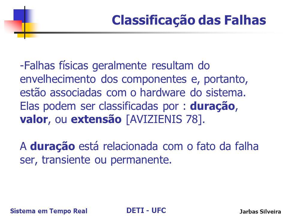 DETI - UFC Sistema em Tempo Real Jarbas Silveira -Falhas físicas geralmente resultam do envelhecimento dos componentes e, portanto, estão associadas com o hardware do sistema.