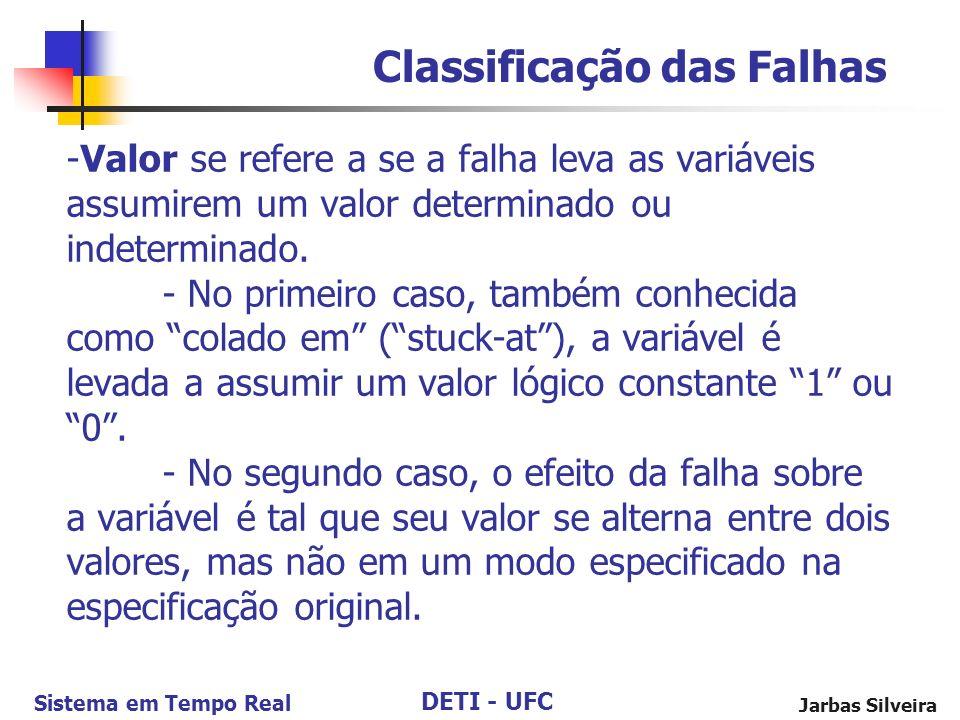 DETI - UFC Sistema em Tempo Real Jarbas Silveira -Valor se refere a se a falha leva as variáveis assumirem um valor determinado ou indeterminado.