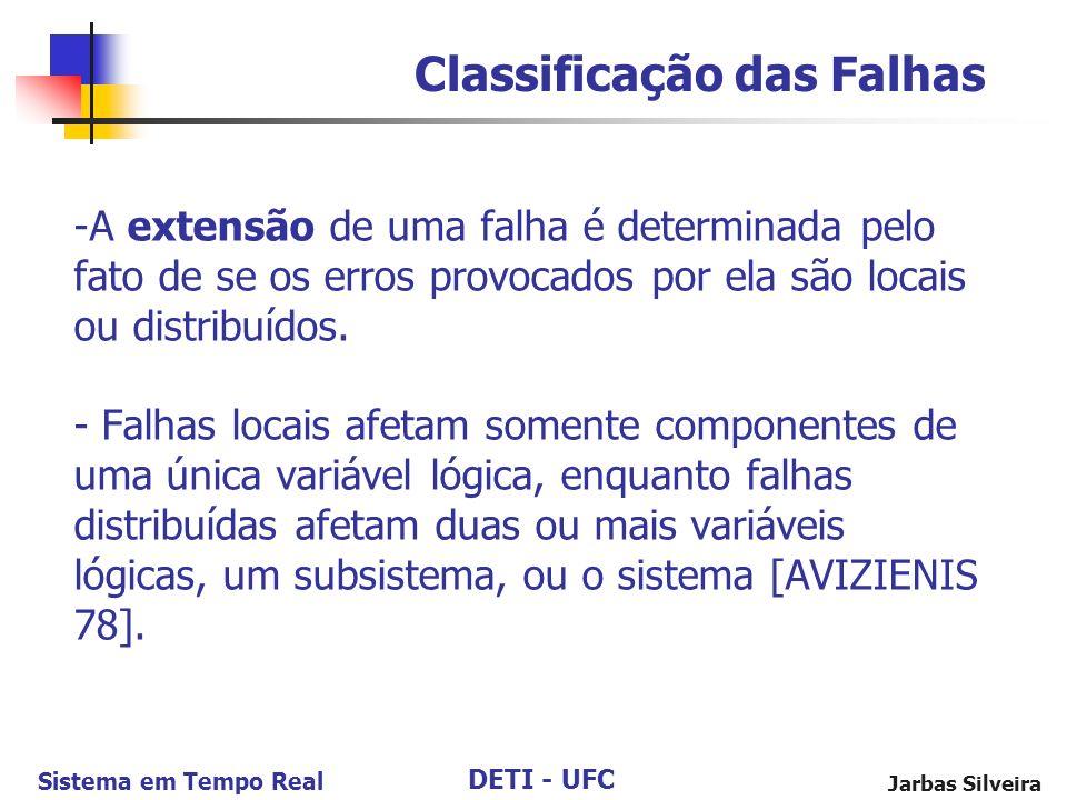 DETI - UFC Sistema em Tempo Real Jarbas Silveira -A extensão de uma falha é determinada pelo fato de se os erros provocados por ela são locais ou distribuídos.