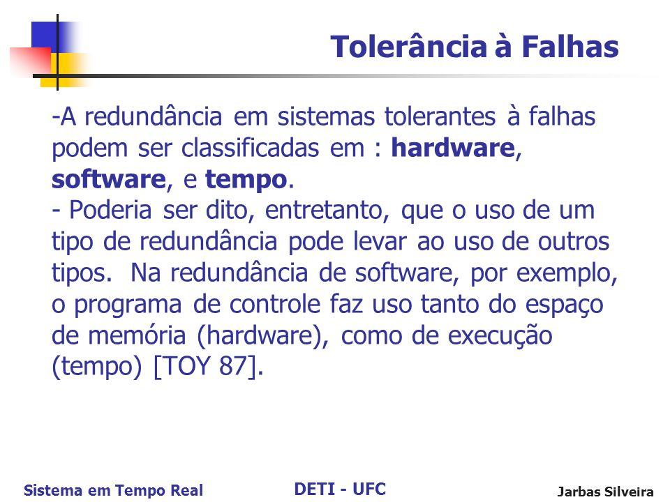 DETI - UFC Sistema em Tempo Real Jarbas Silveira -A redundância em sistemas tolerantes à falhas podem ser classificadas em : hardware, software, e tempo.