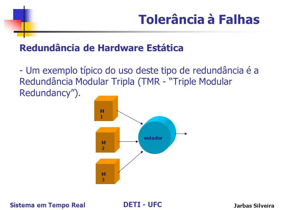 DETI - UFC Sistema em Tempo Real Jarbas Silveira Redundância de Hardware Estática - Um exemplo típico do uso deste tipo de redundância é a Redundância Modular Tripla (TMR - Triple Modular Redundancy).