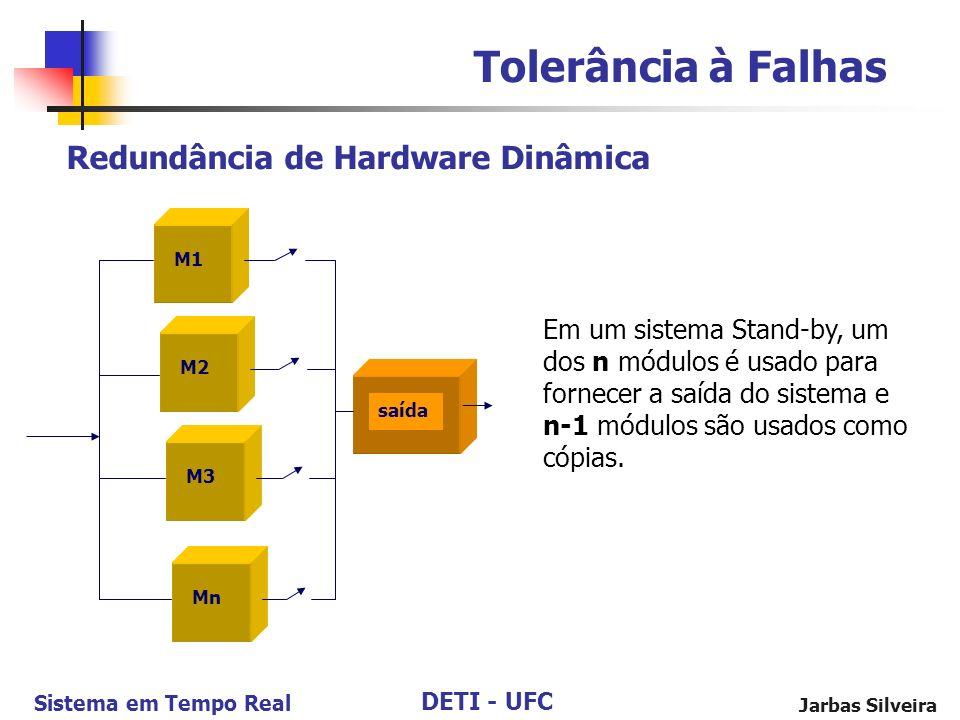 DETI - UFC Sistema em Tempo Real Jarbas Silveira Redundância de Hardware Dinâmica Tolerância à Falhas M1 M2 saída Mn M3 Em um sistema Stand-by, um dos n módulos é usado para fornecer a saída do sistema e n-1 módulos são usados como cópias.