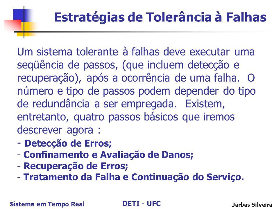 DETI - UFC Sistema em Tempo Real Jarbas Silveira Um sistema tolerante à falhas deve executar uma seqüência de passos, (que incluem detecção e recuperação), após a ocorrência de uma falha.