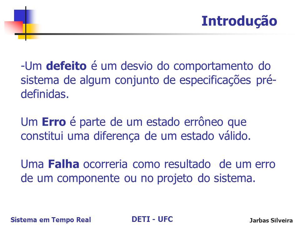DETI - UFC Sistema em Tempo Real Jarbas Silveira -Um defeito é um desvio do comportamento do sistema de algum conjunto de especificações pré- definidas.
