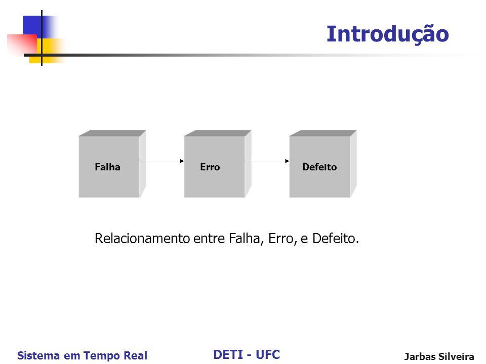 DETI - UFC Sistema em Tempo Real Jarbas Silveira Introdução Falha Erro Defeito Relacionamento entre Falha, Erro, e Defeito.