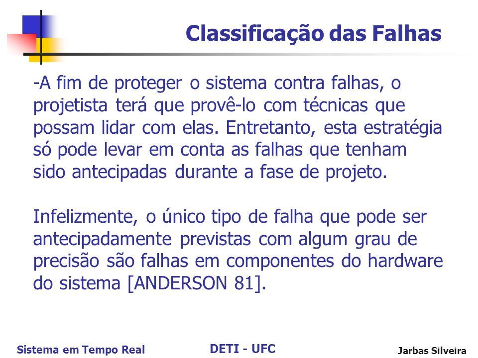 DETI - UFC Sistema em Tempo Real Jarbas Silveira -A fim de proteger o sistema contra falhas, o projetista terá que provê-lo com técnicas que possam lidar com elas.