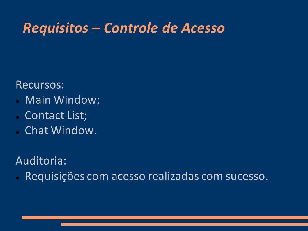 Requisitos – Controle de Acesso Recursos: Main Window; Contact List; Chat Window. Auditoria: Requisições com acesso realizadas com sucesso.