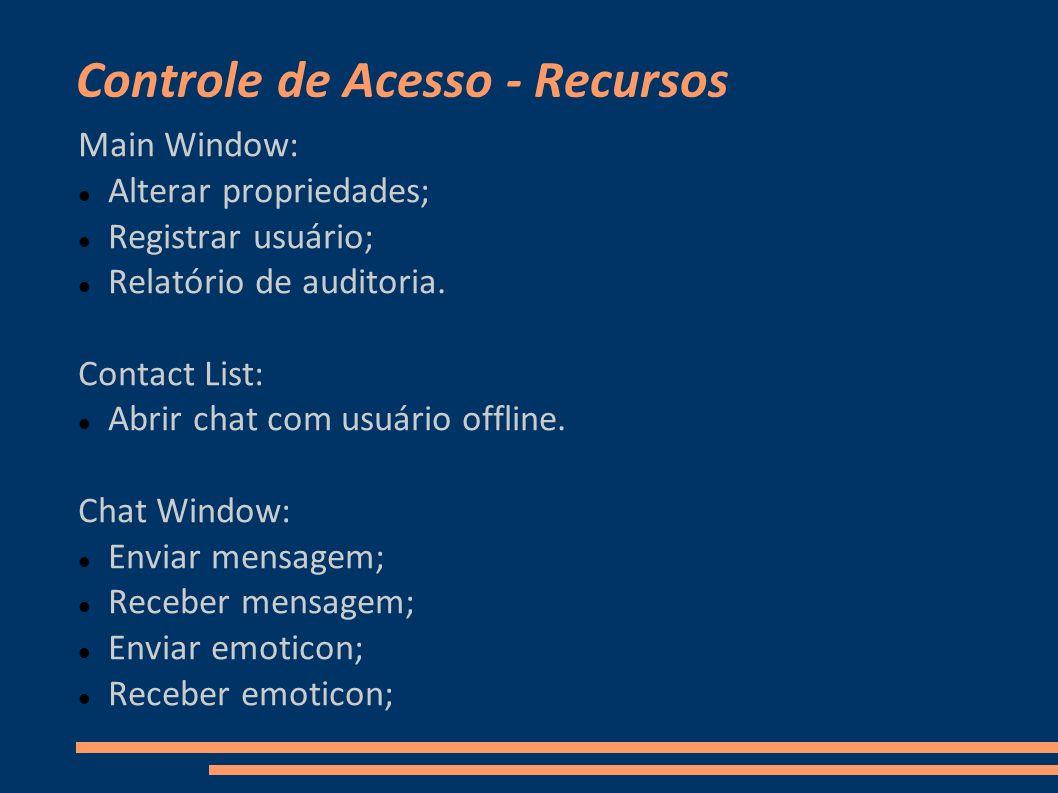 Controle de Acesso - Recursos Main Window: Alterar propriedades; Registrar usuário; Relatório de auditoria. Contact List: Abrir chat com usuário offli