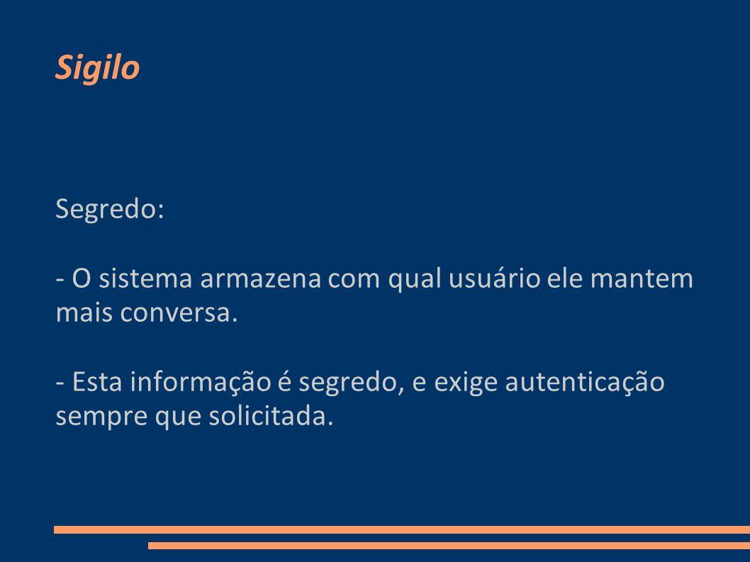 Sigilo Segredo: - O sistema armazena com qual usuário ele mantem mais conversa. - Esta informação é segredo, e exige autenticação sempre que solicitad