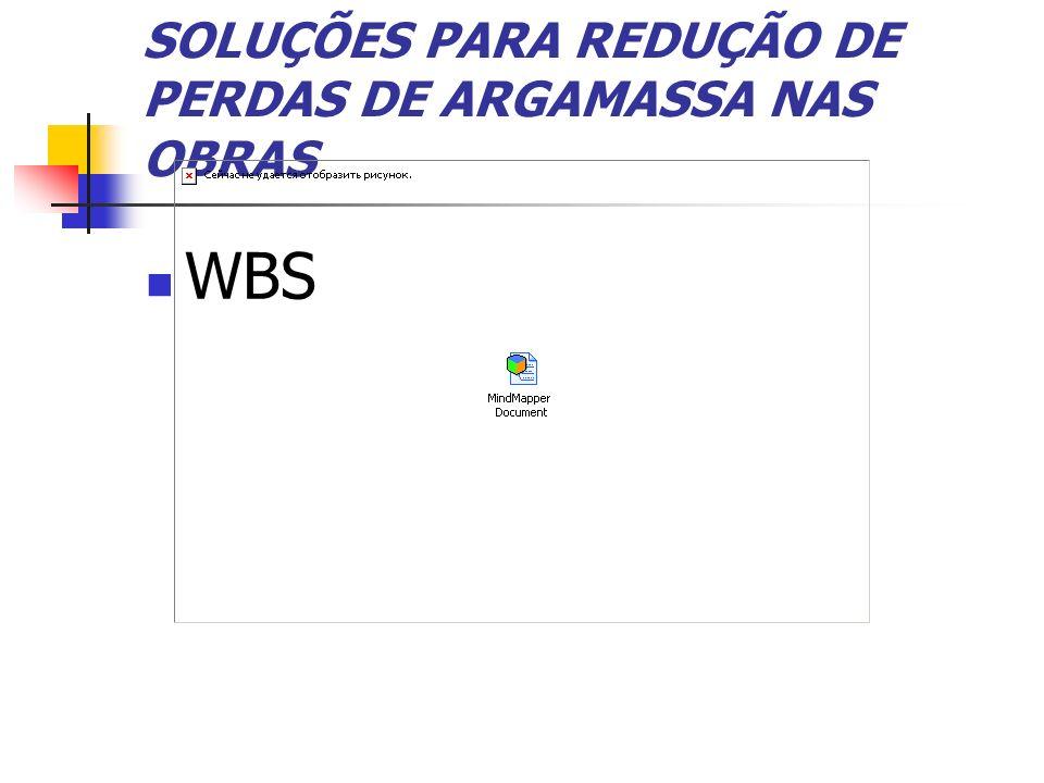 SOLUÇÕES PARA REDUÇÃO DE PERDAS DE ARGAMASSA NAS OBRAS WBS