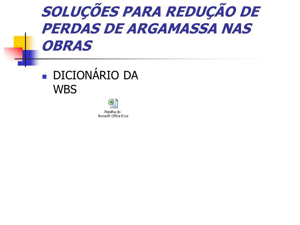 SOLUÇÕES PARA REDUÇÃO DE PERDAS DE ARGAMASSA NAS OBRAS DICIONÁRIO DA WBS