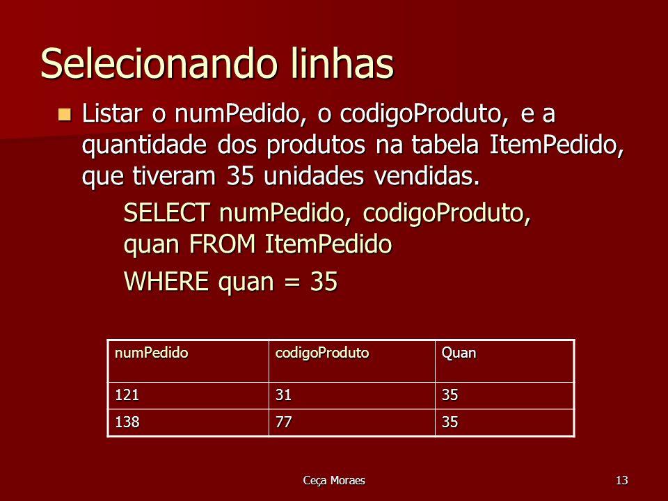 Ceça Moraes14 Selecionando linhas Listar os nomes dos clientes da cidade de São Paulo Listar os nomes dos clientes da cidade de São Paulo SELECT nomeCliente FROM Cliente SELECT nomeCliente FROM Cliente WHERE cidade = São Paulo WHERE cidade = São Paulo