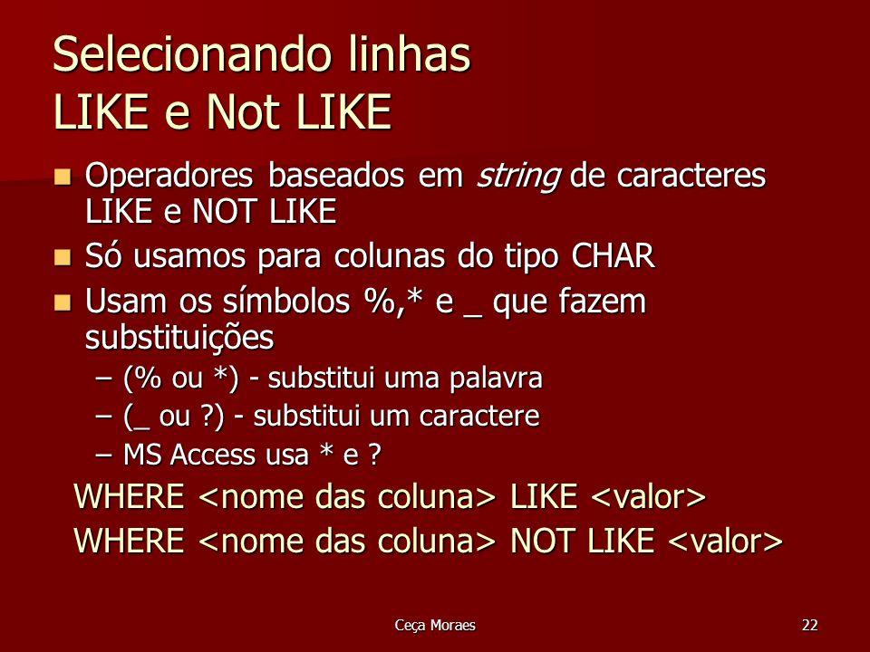 Ceça Moraes22 Selecionando linhas LIKE e Not LIKE Operadores baseados em string de caracteres LIKE e NOT LIKE Operadores baseados em string de caracte