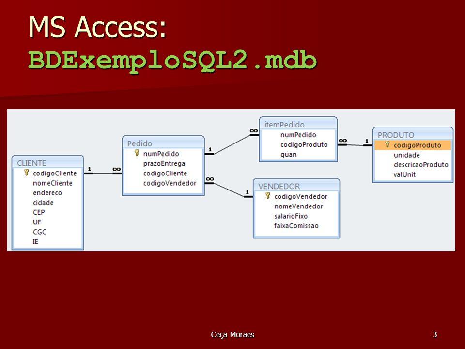 MS Access: BDExemploSQL2.mdb Ceça Moraes3