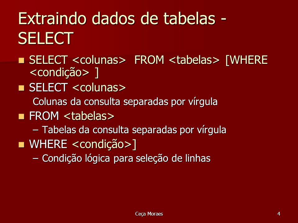 Ceça Moraes5 SELECT Exemplo 1 Listar todos os produtos com respectivas descrições, unidades, valores unitários Listar todos os produtos com respectivas descrições, unidades, valores unitários SELECT descricaoProduto, unidade, valorUnit FROM produto; SELECT descricaoProduto, unidade, valorUnit FROM produto; A execução desse comando irá listar todas as linhas da tabela produtos A execução desse comando irá listar todas as linhas da tabela produtos