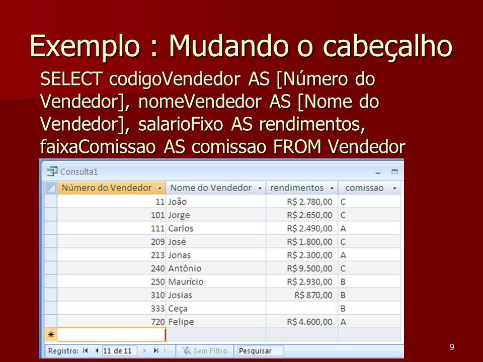 Ceça Moraes9 Exemplo : Mudando o cabeçalho SELECT codigoVendedor AS [Número do Vendedor], nomeVendedor AS [Nome do Vendedor], salarioFixo AS rendiment