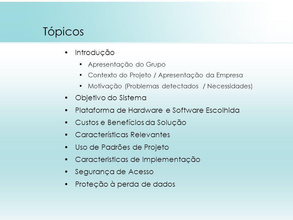 Tópicos Introdução Apresentação do Grupo Contexto do Projeto / Apresentação da Empresa Motivação (Problemas detectados / Necessidades) Objetivo do Sis