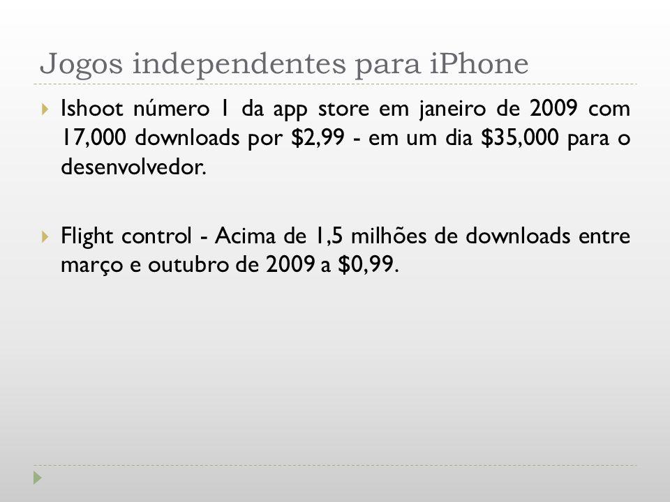 Jogos independentes para iPhone Ishoot número 1 da app store em janeiro de 2009 com 17,000 downloads por $2,99 - em um dia $35,000 para o desenvolvedo