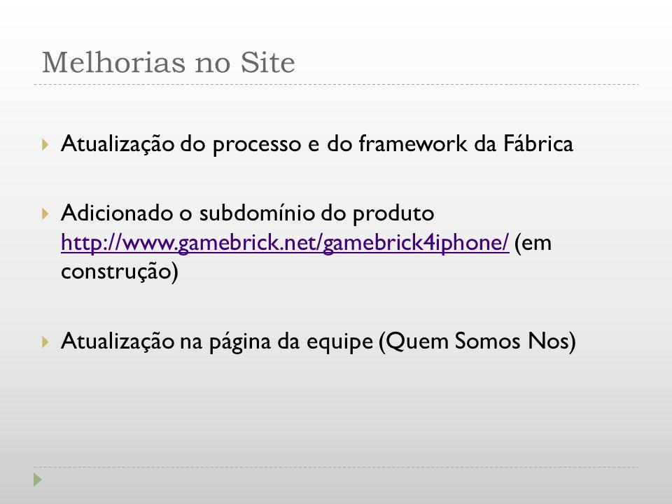 Melhorias no Site Atualização do processo e do framework da Fábrica Adicionado o subdomínio do produto http://www.gamebrick.net/gamebrick4iphone/ (em