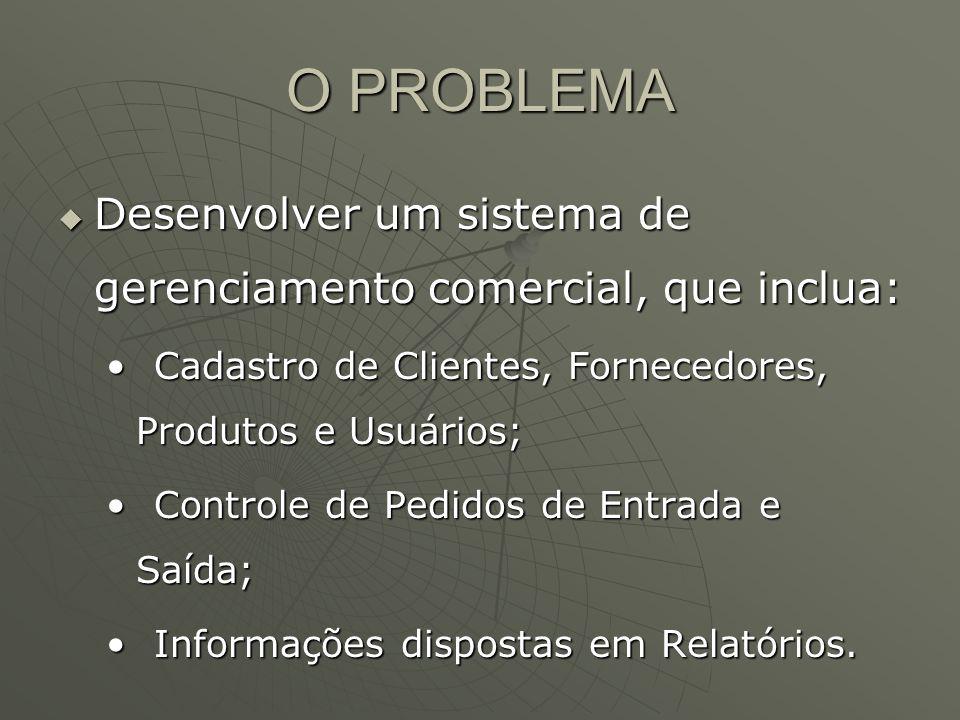 O PROBLEMA Desenvolver um sistema de gerenciamento comercial, que inclua: Desenvolver um sistema de gerenciamento comercial, que inclua: Cadastro de Clientes, Fornecedores, Produtos e Usuários;Cadastro de Clientes, Fornecedores, Produtos e Usuários; Controle de Pedidos de Entrada e Saída;Controle de Pedidos de Entrada e Saída; Informações dispostas em Relatórios.Informações dispostas em Relatórios.