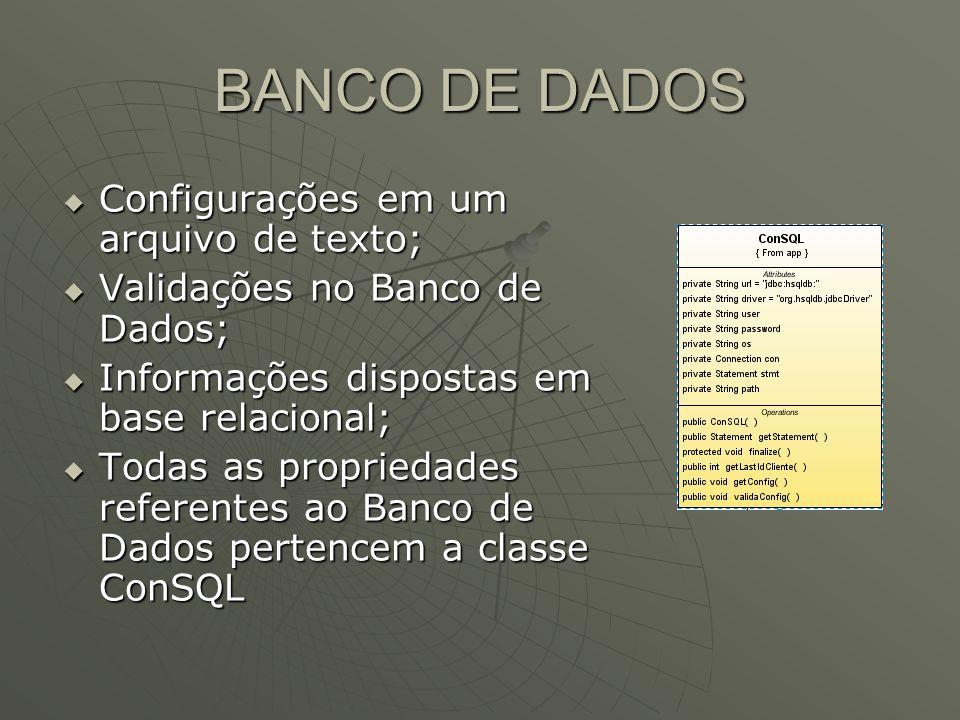 BANCO DE DADOS Configurações em um arquivo de texto; Configurações em um arquivo de texto; Validações no Banco de Dados; Validações no Banco de Dados; Informações dispostas em base relacional; Informações dispostas em base relacional; Todas as propriedades referentes ao Banco de Dados pertencem a classe ConSQL Todas as propriedades referentes ao Banco de Dados pertencem a classe ConSQL