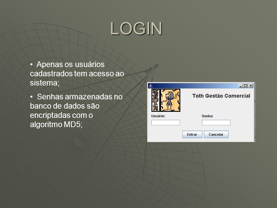 LOGIN Apenas os usuários cadastrados tem acesso ao sistema; Senhas armazenadas no banco de dados são encriptadas com o algoritmo MD5;