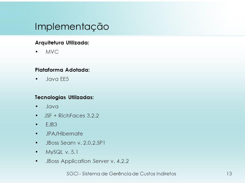 Implementação Arquitetura Utilizada: MVC Plataforma Adotada: Java EE5 Tecnologias Utilizadas: Java JSF + RichFaces 3.2.2 EJB3 JPA/Hibernate JBoss Seam