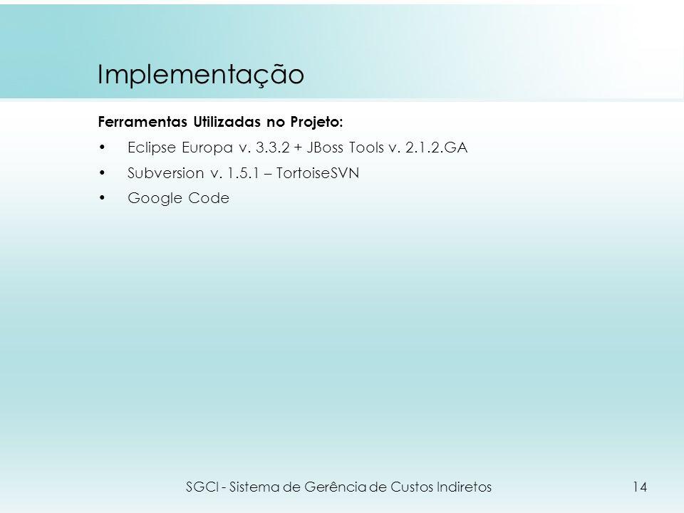 Implementação Ferramentas Utilizadas no Projeto: Eclipse Europa v. 3.3.2 + JBoss Tools v. 2.1.2.GA Subversion v. 1.5.1 – TortoiseSVN Google Code SGCI