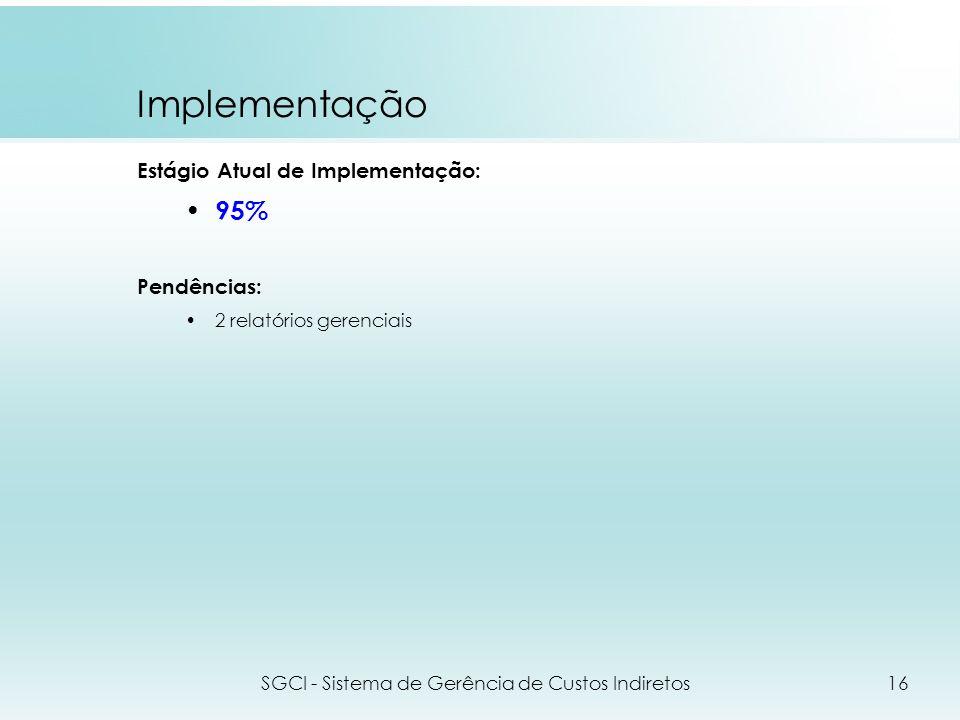 Implementação Estágio Atual de Implementação: 95% Pendências: 2 relatórios gerenciais SGCI - Sistema de Gerência de Custos Indiretos16