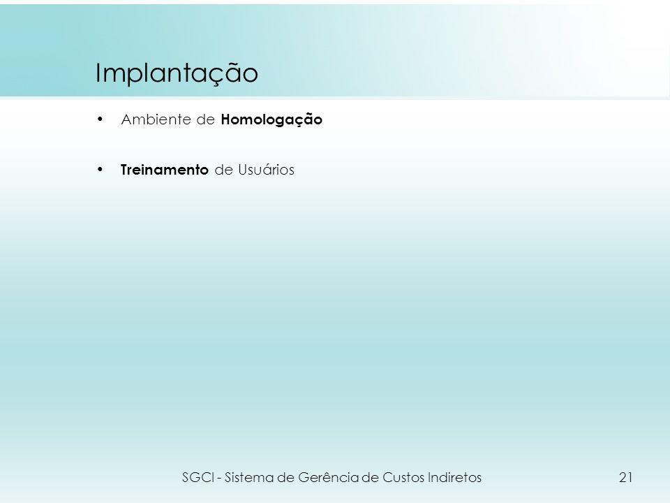 Implantação Ambiente de Homologação Treinamento de Usuários SGCI - Sistema de Gerência de Custos Indiretos21