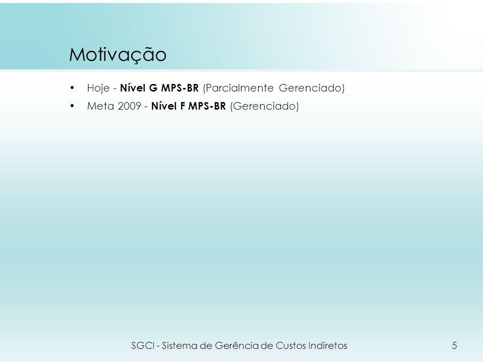 Motivação Hoje - Nível G MPS-BR (Parcialmente Gerenciado) Meta 2009 - Nível F MPS-BR (Gerenciado) SGCI - Sistema de Gerência de Custos Indiretos5