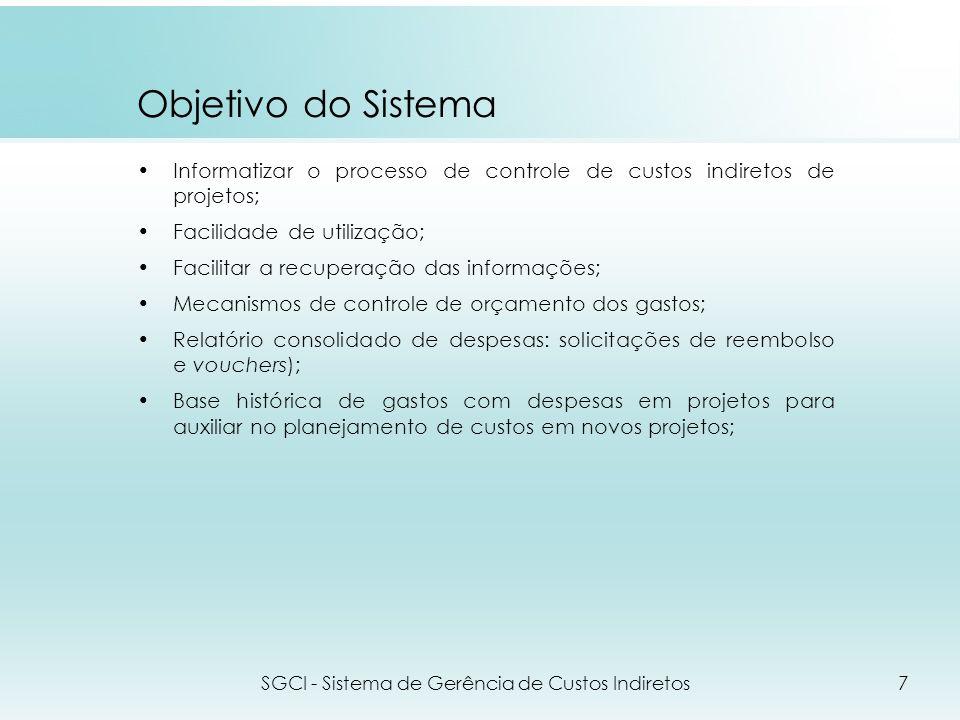 Objetivo do Sistema Informatizar o processo de controle de custos indiretos de projetos; Facilidade de utilização; Facilitar a recuperação das informa