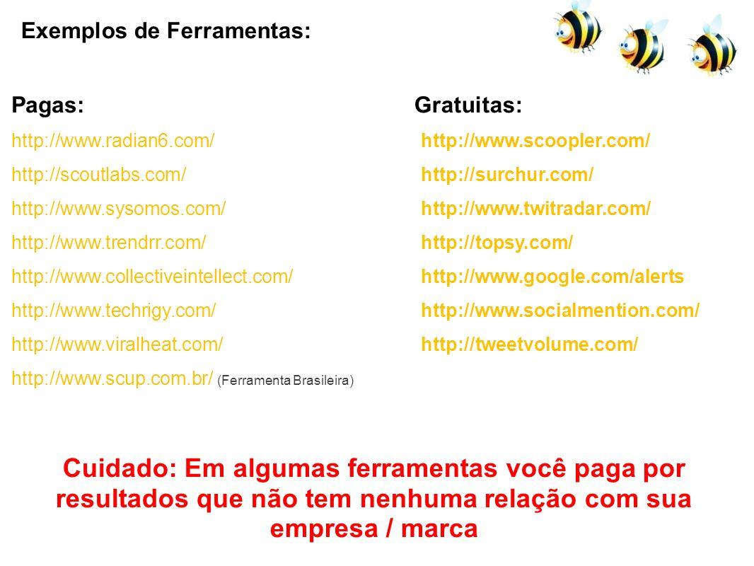 Exemplos de Ferramentas: http://www.radian6.com/ http://scoutlabs.com/ http://www.sysomos.com/ http://www.trendrr.com/ http://www.collectiveintellect.
