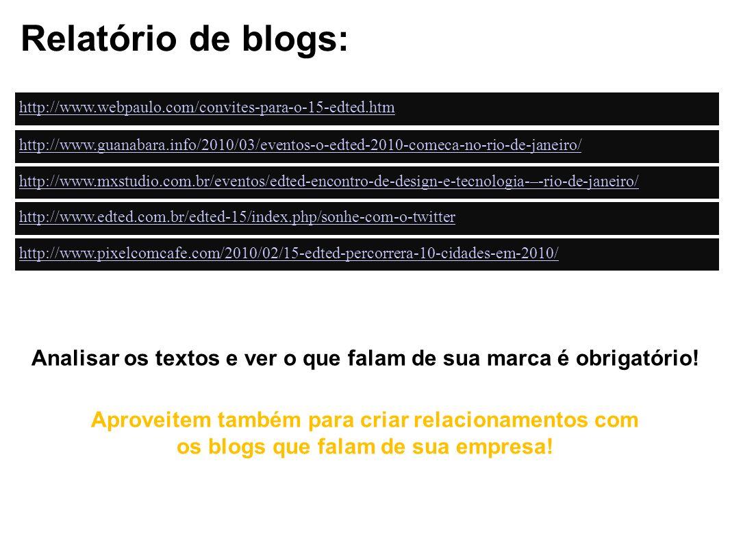 Relatório de blogs: http://www.webpaulo.com/convites-para-o-15-edted.htm http://www.guanabara.info/2010/03/eventos-o-edted-2010-comeca-no-rio-de-janei