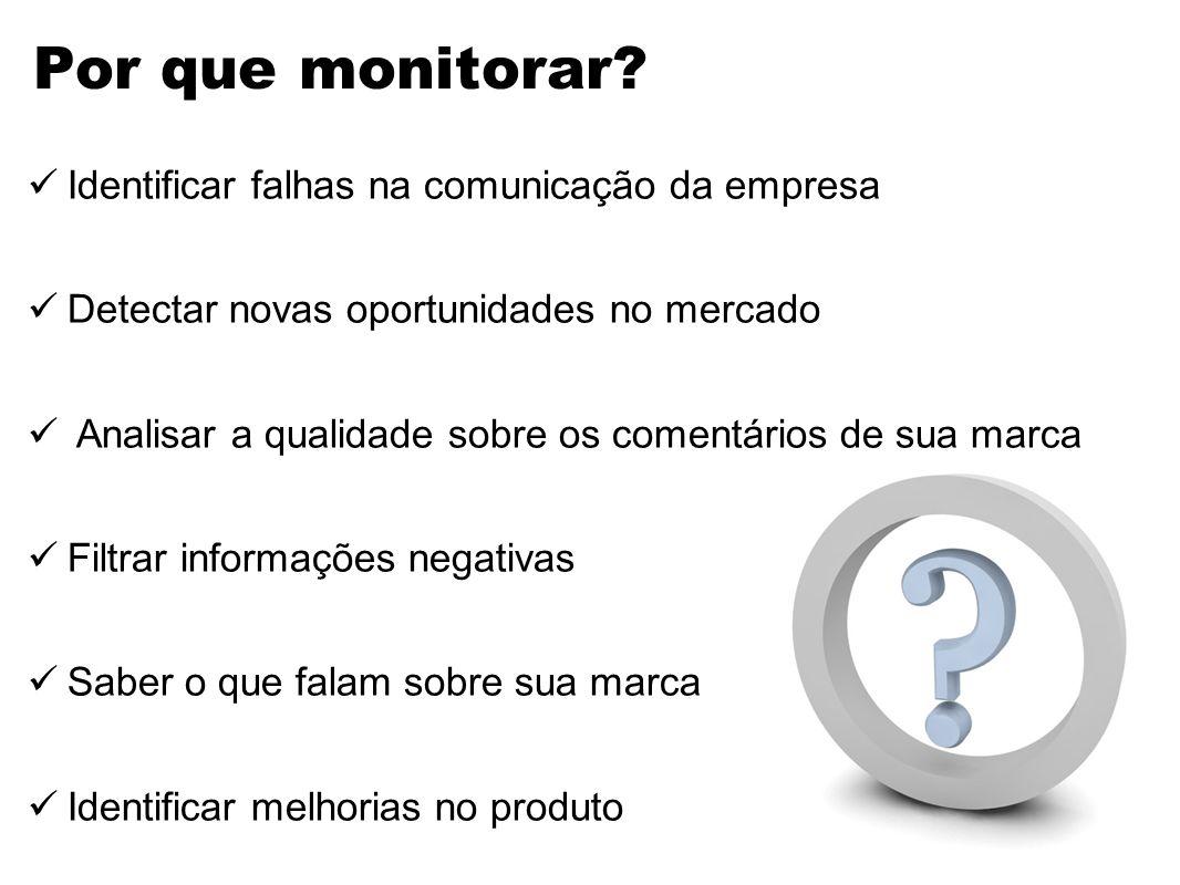Por que monitorar? Identificar falhas na comunicação da empresa Detectar novas oportunidades no mercado Analisar a qualidade sobre os comentários de s