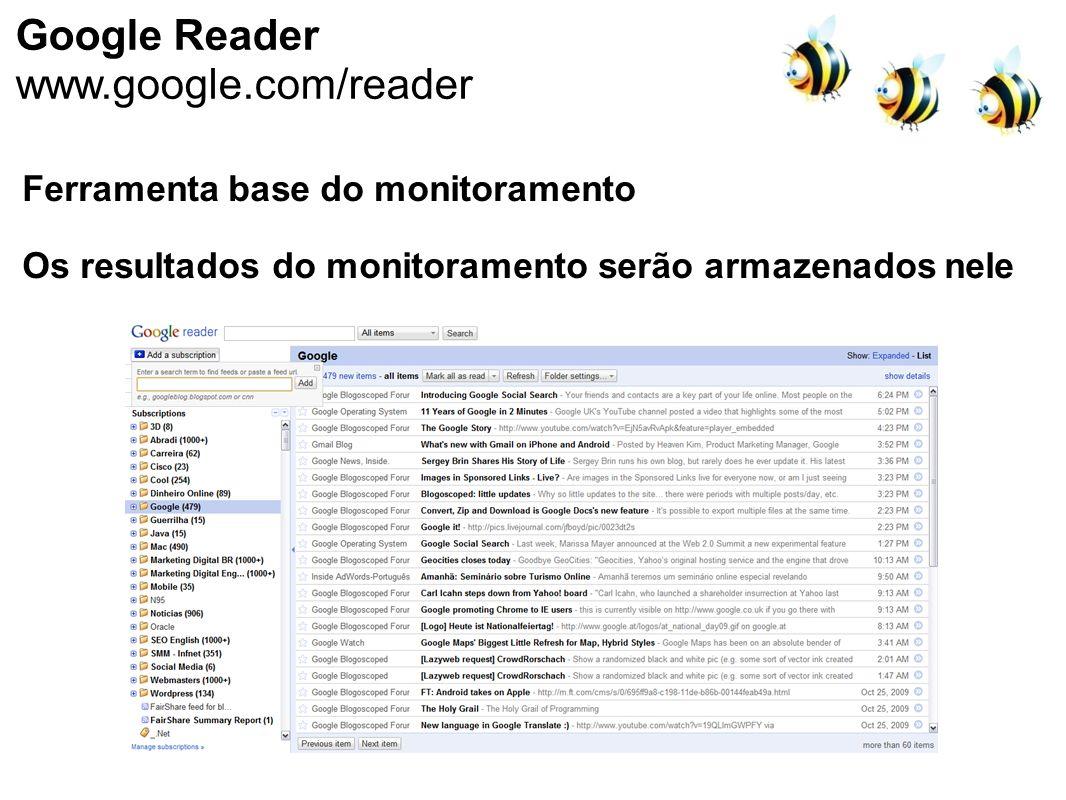 Google Reader www.google.com/reader Ferramenta base do monitoramento Os resultados do monitoramento serão armazenados nele