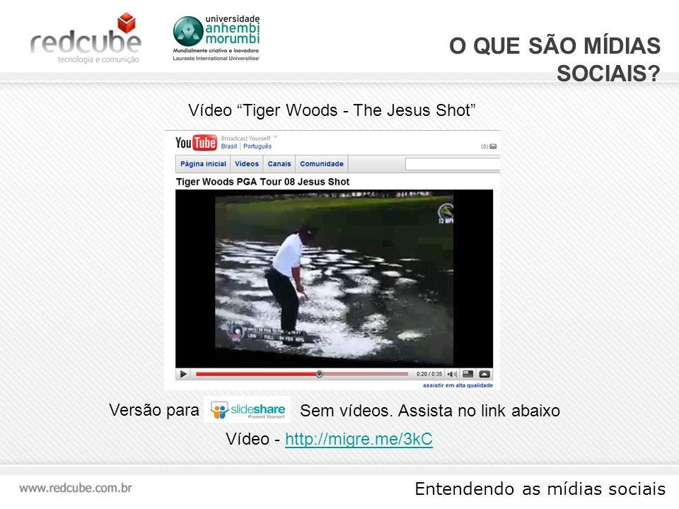 Entendendo as mídias sociais F ERRAMENTAS Levinator25 em The Jesus Shot Um defeito (ou glitch) no jogo Tiger Woods 08 permite que o usuário faça uma tacada sobre a água Quantidade de Visualizações do Vídeo 852.033 Quantidade de comentários no vídeo 1159 Adotado como favorito 1169 vezes http://migre.me/3kC