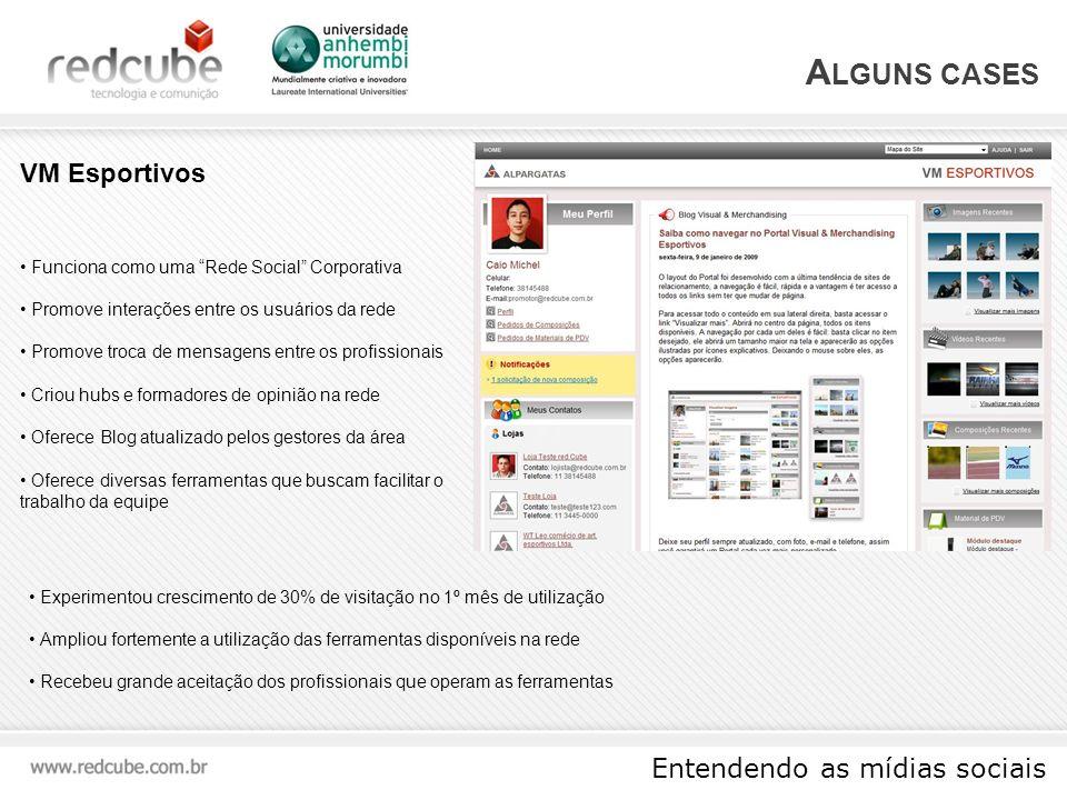 Entendendo as mídias sociais A LGUNS CASES Evento promovido através do Twitter para apoiar o Charity:water Evento totalmente promovido através da ferramenta Captação de patrocinadores e voluntários via Twitter Captação de doações via PagSeguro Geração de Buzz antes e após o evento Publicação espontânea de fotos, posts e comentários em diversas Mídias Twestival São Paulo Posts em blogs de grande audiênciaCentenas de fotos Mídia espontânea em veículos tradicionais de grande audiência