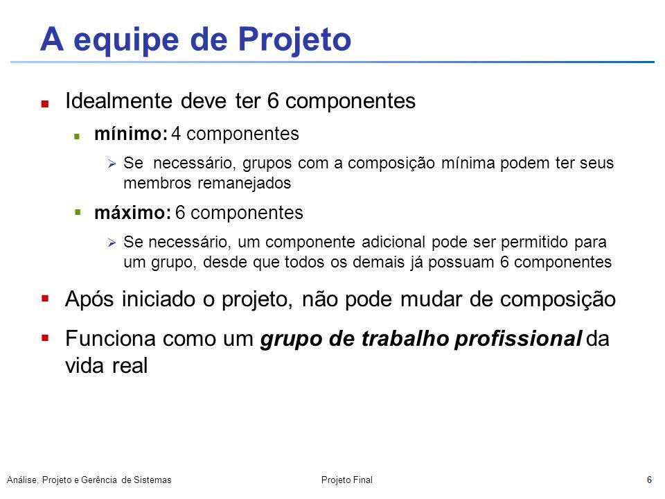 6 Análise, Projeto e Gerência de SistemasProjeto Final A equipe de Projeto Idealmente deve ter 6 componentes mínimo: 4 componentes Se necessário, grup