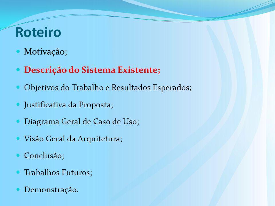 Roteiro Motivação; Descrição do Sistema Existente; Objetivos do Trabalho e Resultados Esperados; Justificativa da Proposta; Diagrama Geral de Caso de