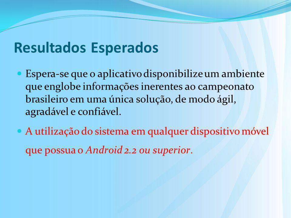 Resultados Esperados Espera-se que o aplicativo disponibilize um ambiente que englobe informações inerentes ao campeonato brasileiro em uma única solu
