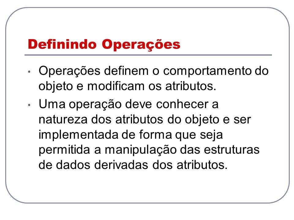 Definindo Operações Operações definem o comportamento do objeto e modificam os atributos. Uma operação deve conhecer a natureza dos atributos do objet