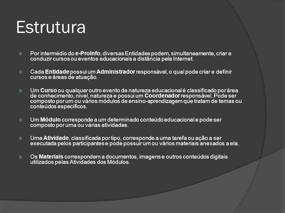 Estrutura Por intermédio do e-ProInfo, diversas Entidades podem, simultaneamente, criar e conduzir cursos ou eventos educacionais a distância pela Int