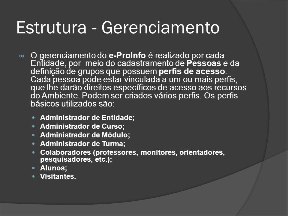 Estrutura - Gerenciamento O gerenciamento do e-ProInfo é realizado por cada Entidade, por meio do cadastramento de Pessoas e da definição de grupos qu