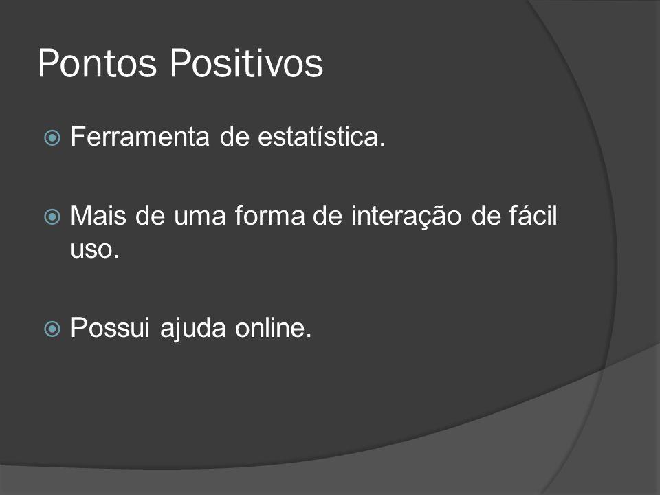 Pontos Positivos Ferramenta de estatística. Mais de uma forma de interação de fácil uso. Possui ajuda online.
