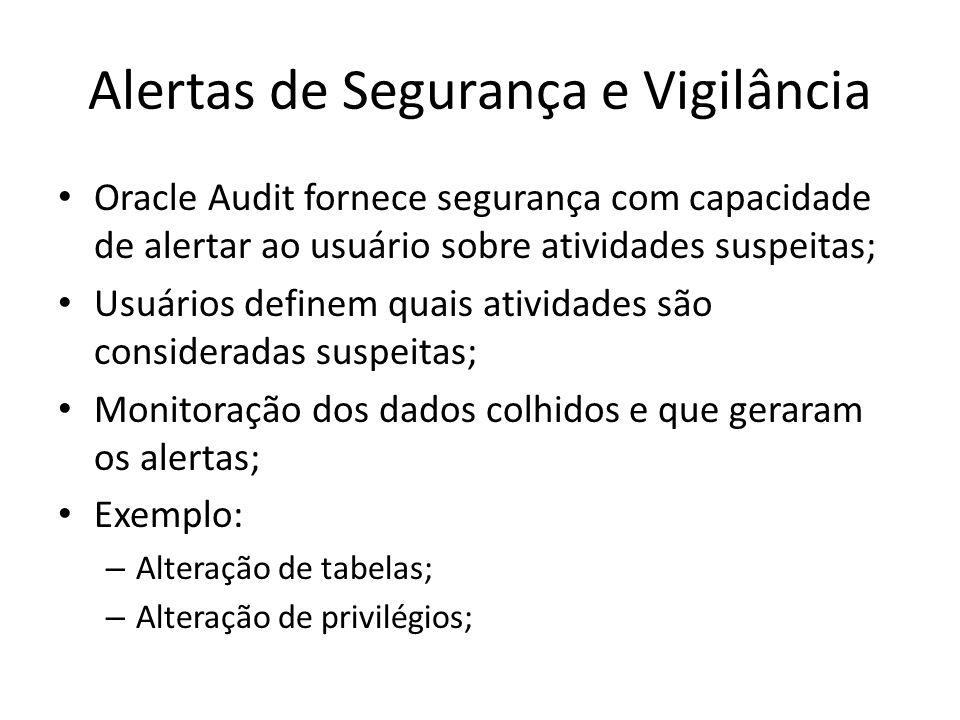 Alertas de Segurança e Vigilância Oracle Audit fornece segurança com capacidade de alertar ao usuário sobre atividades suspeitas; Usuários definem qua