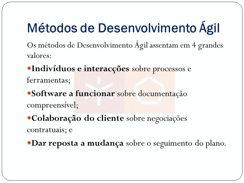 Métodos de Desenvolvimento Ágil Os métodos de Desenvolvimento Ágil assentam em 4 grandes valores: Indivíduos e interacções sobre processos e ferrament