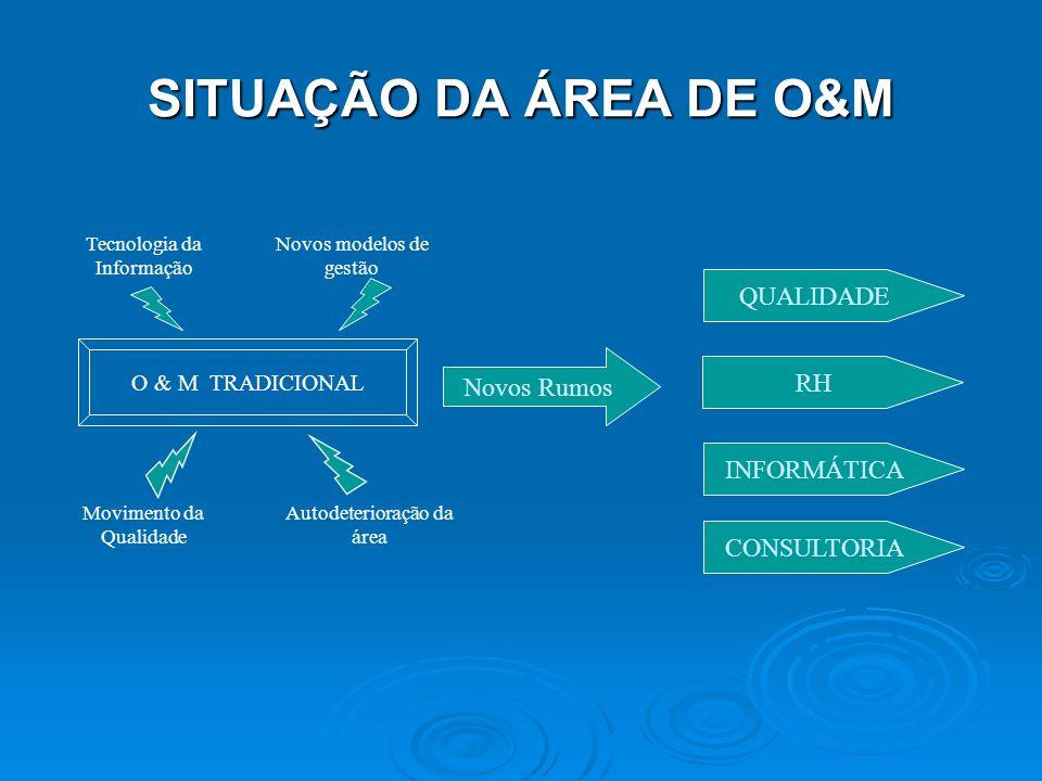 SITUAÇÃO DA ÁREA DE O&M O & M TRADICIONAL Tecnologia da Informação Novos modelos de gestão Movimento da Qualidade Autodeterioração da área Novos Rumos QUALIDADE RH INFORMÁTICA CONSULTORIA