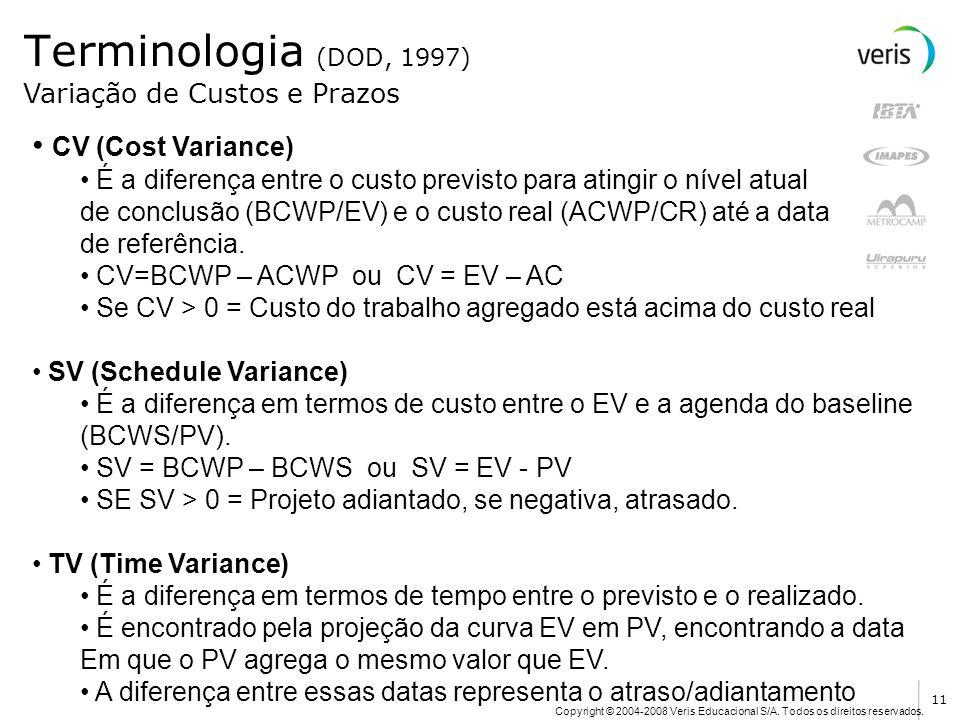 Copyright © 2004-2008 Veris Educacional S/A. Todos os direitos reservados. Terminologia (DOD, 1997) CV (Cost Variance) É a diferença entre o custo pre